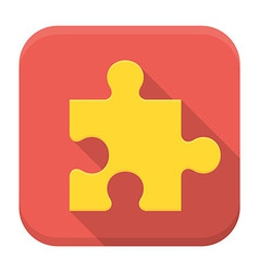 Game puzzle flat app icon with long shadow vector