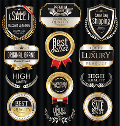 golden laurel wreaths and badges collection 3 vector image vector image