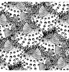 Graphic puffer fish pattern vector