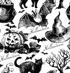 Hand drawn Halloween seamless pattern vector image vector image