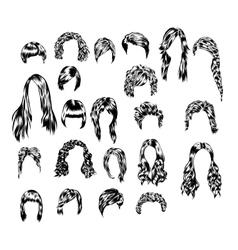 Hand drawn set of different women s hair styles vector