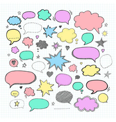 Handwriting set of speech bubbles vector