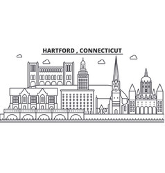 hartford connecticut architecture line skyline vector image vector image