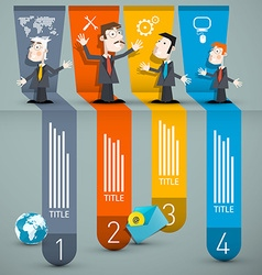 Infographics with businessmen and paper layout vector