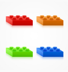 Isometric colorful plastic building blocks vector