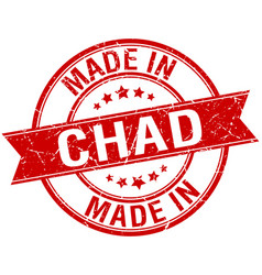 Made in chad red round vintage stamp vector