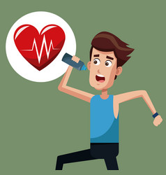 Man exercise run heartbeat vector