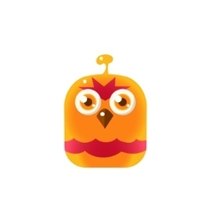 Orange angry chick square icon vector