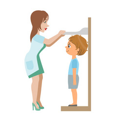 Pediatrician measuring heights of little boy part vector