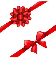 red ribbon bow set vector image vector image