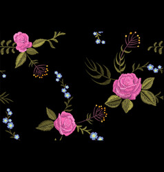 rose flower embroidery texture seamless pattern vector image
