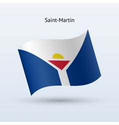 Saint-Martin flag waving form vector image