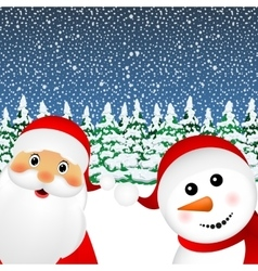 Santa claus and christmas snowman vector