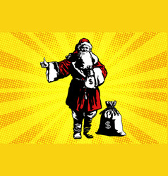 Santa claus with a bag of money vector
