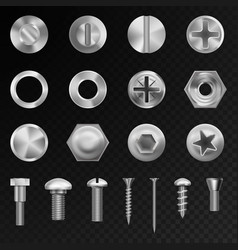 Screw steel bolts nuts and metal rivet vector