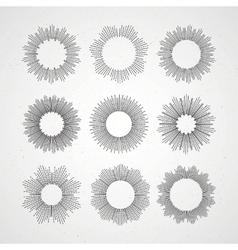 Set of retro sun burst shapes vector