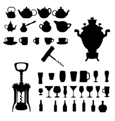 Silhouette of drinks cafe icons vector