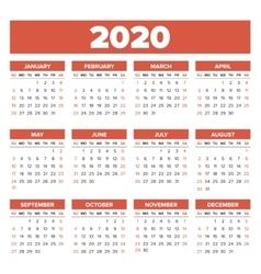 Simple 2020 year calendar vector