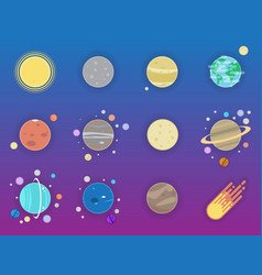 Solar system icons - planets comet satellite of vector