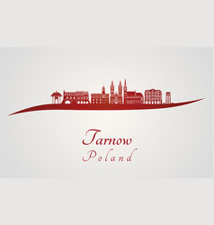 Tarnow skyline in red vector