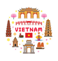 Vietnam travel attraction label vector