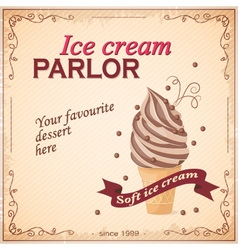 vintage banner ice cream parlor vector image vector image
