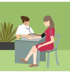 Woman check blood pressure with nurse medical vector