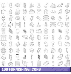100 furnishing icons set outline style vector image vector image