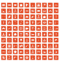 100 working professions icons set grunge orange vector image vector image