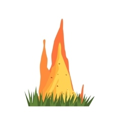 Burning termite nest jungle landscape element vector