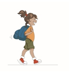 Girl with backpack vector