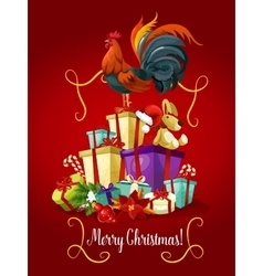 Merry Christmas card Rooster cock poster vector image