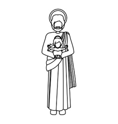 Silhouette picture saint joseph with baby jesus vector