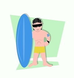 Funny little kids being surfer ready to surf vector