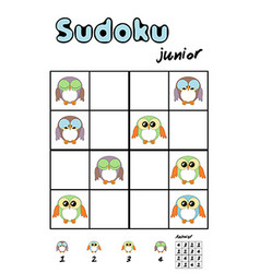 Picture sudoku with cute owls answer included vector