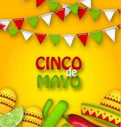 Holiday celebration poster for cinco de mayo vector