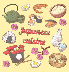 Japanese cuisine food hand drawn doodle vector