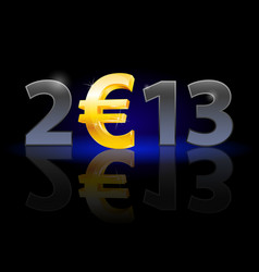 Twenty thirteen year euro sign on black vector