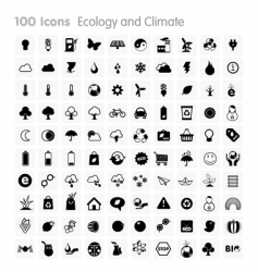 100 icons ecology and climate vector image