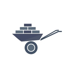 Icon of wheelbarrow with bricks vector