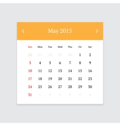 Calendar page for may 2015 vector