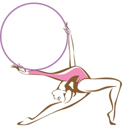 Rhythmic gymnast with a hoop vector