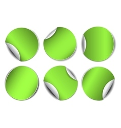 Set of green round promotional stickers vector