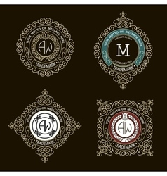 Monogram emblem template logo design vector