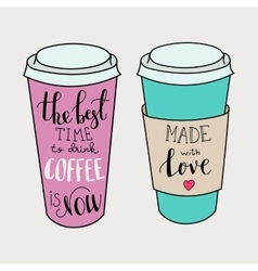 Lettering on coffee cup shapes set vector