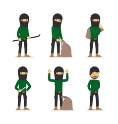Criminal man burglar and thief character vector