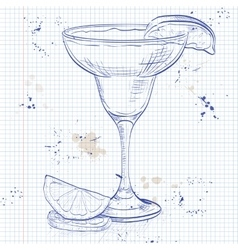 Yellow bird cocktail on a notebook page vector