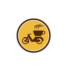 Coffee delivery motorcycle circle retro vector