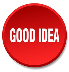 Good idea red round flat isolated push button vector