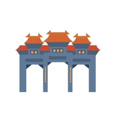 Blue archway in classic chinese style simplified vector